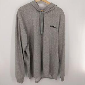 Adidas Gray Logo Drawstring Jersey Hoodie Size 2XL